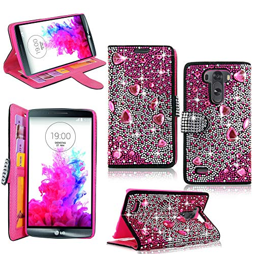 (LG Optimus G3 Case - Cellularvilla Pu Leather Wallet Diamond Design Sparkle Glitter Card Flip Open Pocket Case Cover Pouch For LG G3 D850 D851 AT&T (Pink Silver))