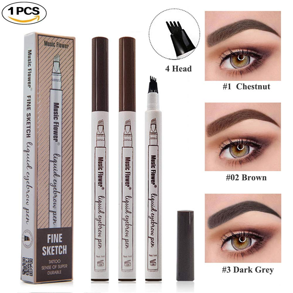 Tattoo Liquid Eyebrow Pencil with Four Fork Tips Waterproof & Long-lasting Eye Brow Pencil Ink Sketch Eyebrow Pen for Natural Eyes Makeup -Brown Foxcesd