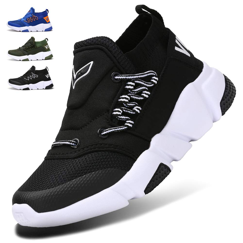 WETIKE Kids Shoes Boys Girls Sneakers Lightweight Sports Shoes Slip On Running Walking School Casual Trainer Shoes Soft Knit Mesh Shoes Tennis Wrestling Shoes Black Size 1 by WETIKE
