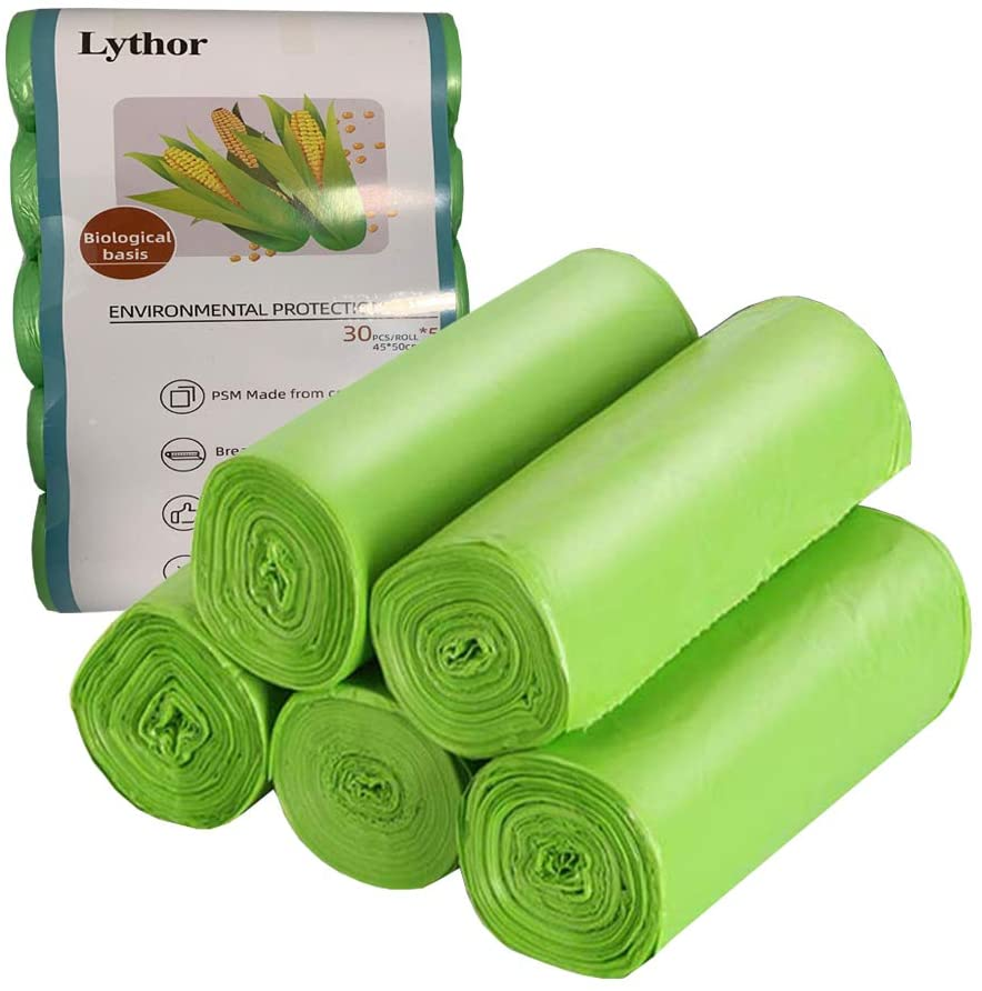 Compostable Trash Bags, 2.6 Gallon Small Disposable Compost Bags 150 Count Garbage Bags Made from PSM Starch-Based for Kitchen Bathroom Bedroom Office Trash Can(Green, 150)