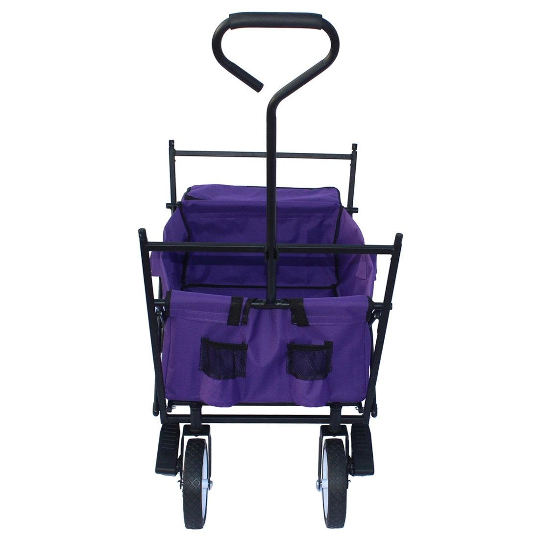 Sports God Folding Wagon Collapsible Utility Graden Cart with Removable Canopy + Storage Basket + FREE Cooler (Purple) by Sports God (Image #4)