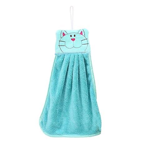 BESTOMZ Toalla de Mano de guardería Felpa de Dibujos Animados Gato Colgando Toallitas de baño Encantador