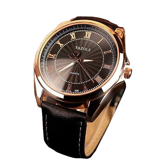 Relojes de lujo de cuero de moda para hombre orquesta números romanos del reloj casual para hombre del reloj del deporte: Amazon.es: Relojes
