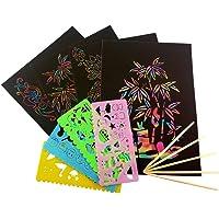 SUPVOX 59pcs Magic Scratch Paper para niños Artes y Manualidades Juguetes educativos para niños (Negro)