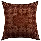 30 Inch Square Ottoman xinchuangshangmao Pillow Case Cushion Cover Antique Vintage Lacy Persian Arabic Pattern from Ottoman Empire Palace Style Artprint Orange Brown Square Pillowcase for Men Women Kids18x18 Inch