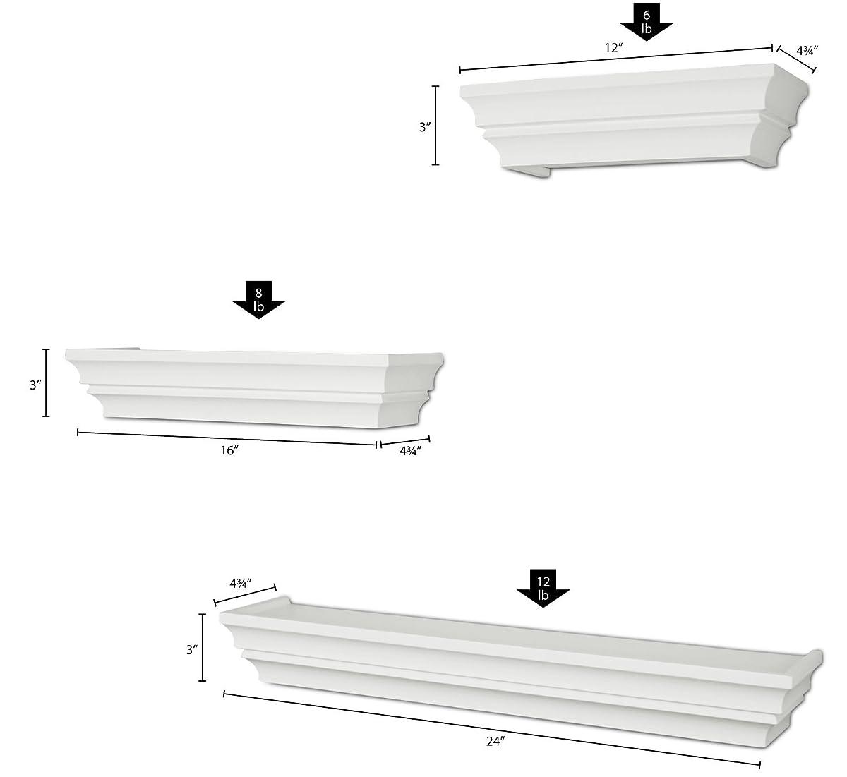 "Ballucci Victorian Wall Ledge and Shelf, 12"", 16"", 24"", Set of 3, White"