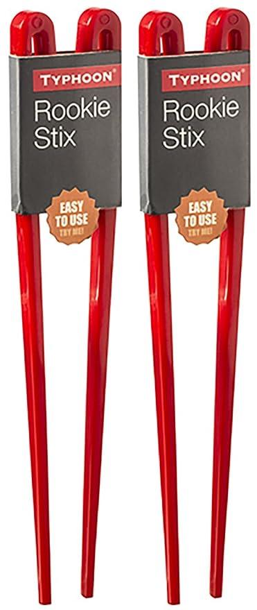 2 x Pared de Palillos Chinos Fáciles de Usar de Plástico Rojo (Rookie Stixs)