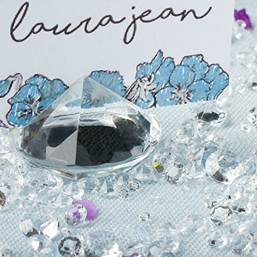CLEAR Diamond Place Card Holder (20 Pieces) & Matching Diamond Table Confetti (with over 6,000 Table Scatter Diamonds). Crystal-Clear Acrylic Party and Wedding Table Decorations Set.
