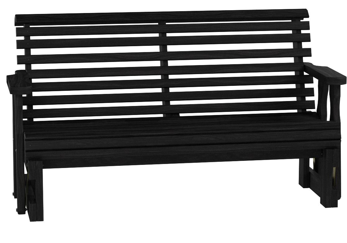 Caf Amish Heavy Duty 800 Lb Roll Back Pressure Treated Porch Glider 5 Foot Semi Solid Black Stain Garden Outdoor