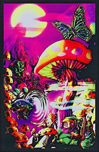 Magic Valley Trippy Mushrooms College Blacklight Art Poster Print -- Size:24