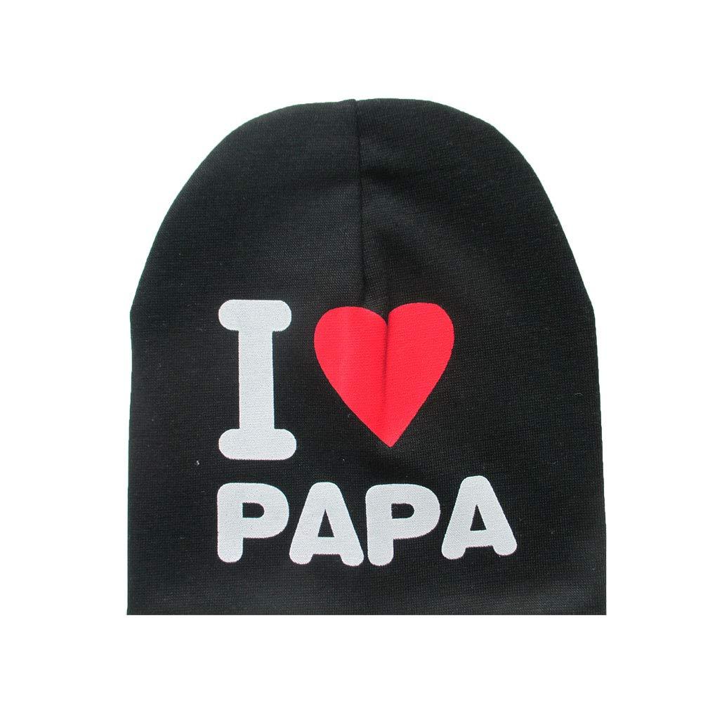 Bonnet en tricot pour bébé avec motif lettre en coton Bonnet pour petit enfant (noir) 1PC Beito