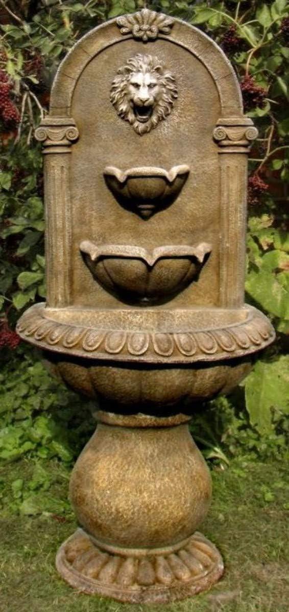 Casa Padrino Fuente de Pared Barroco León 45 x H. 103 cm - Fuente de Jardín de Piedra Artificial en Estilo Barroco, Colores:marrón Antiguo: Amazon.es: Hogar
