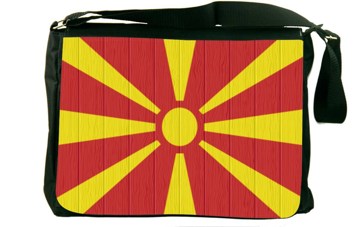 Rikki Knight Macedonia Flag on Distressed Wood Messenger Bag School Bag