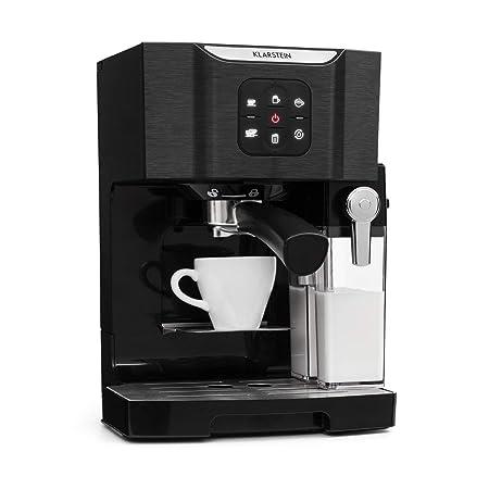 Klarstein BellaVita TotalBlack Edition Máquina de café - Cafetera 3 en 1: para capuccino, espresso y latte macchiato, espumadora de leche, 1450 W, ...
