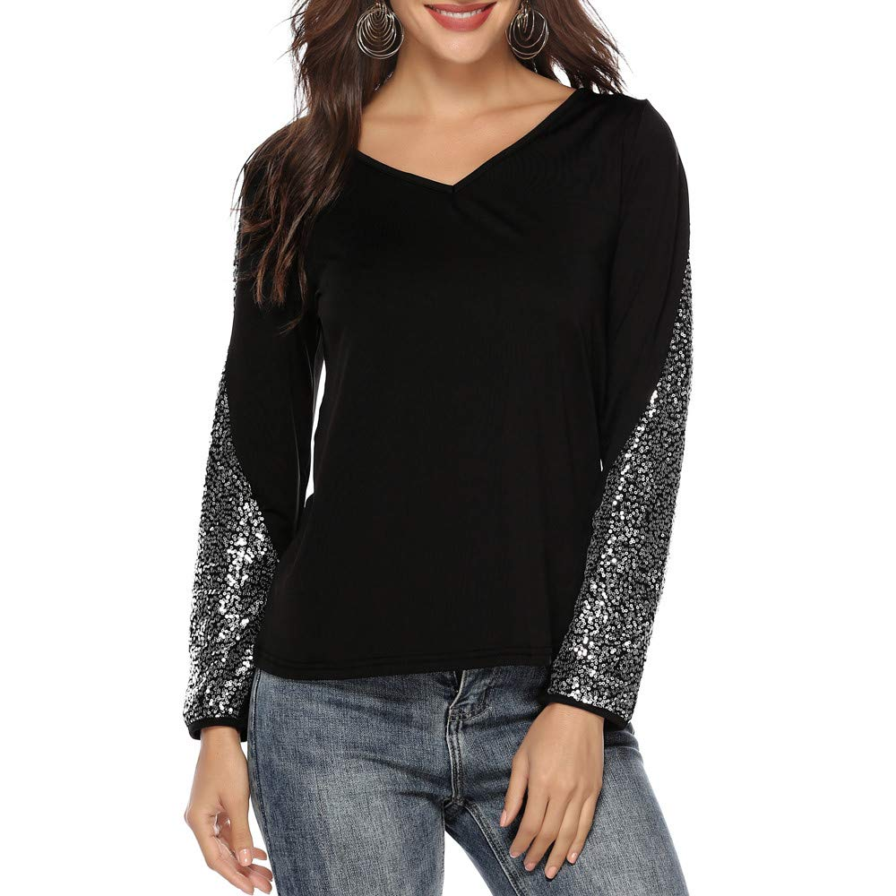 HULKAY Womens Fashion Sequin Long Sleeve V-Neck T-Shirt Tunic Tops Blouses(Black,L) by HULKAY