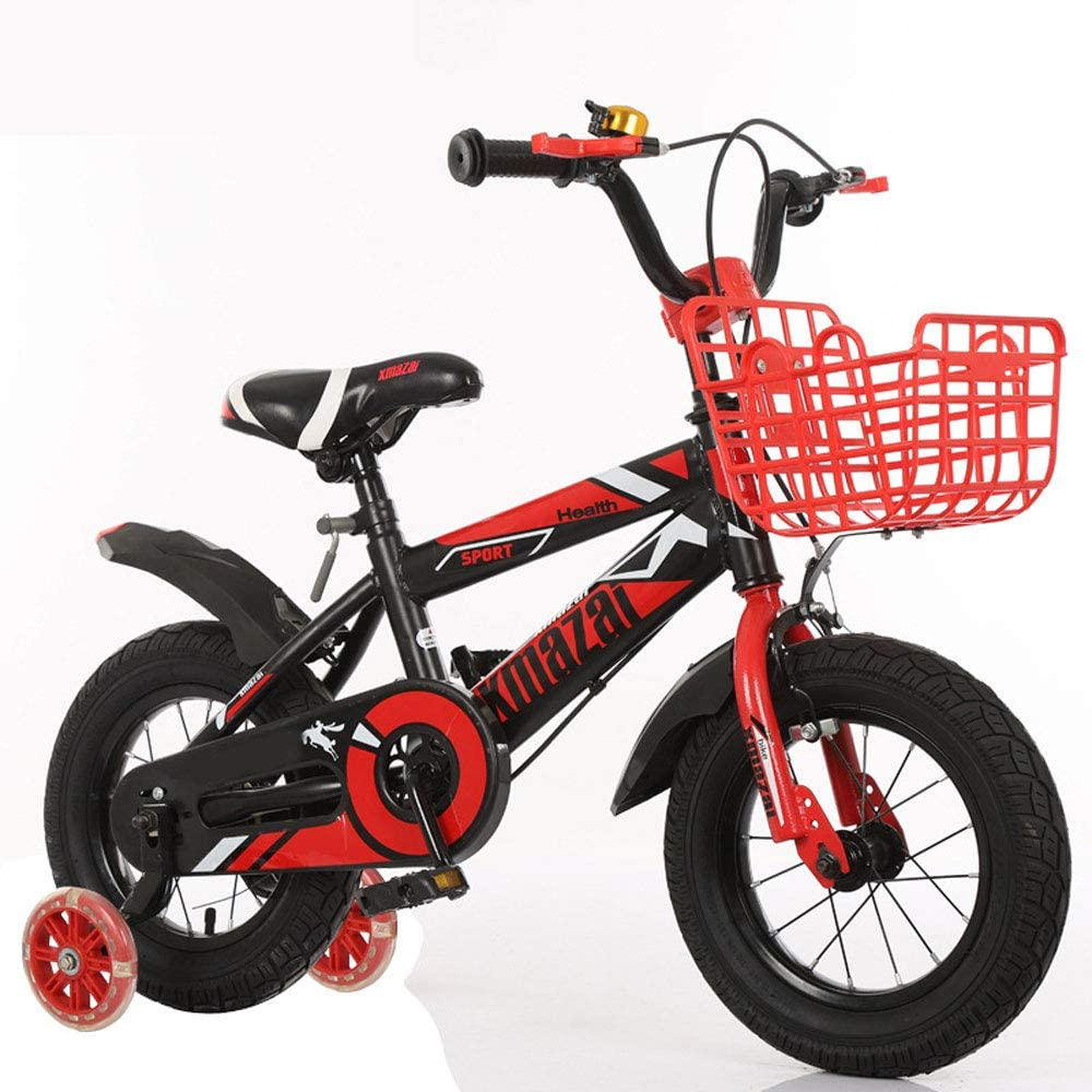 JHGK Bicicletas De Alta Fit Niños, Marco De Acero Al Carbono Espesado con Flash Auxiliar Ruedas, Bicicletas 3-7 Años De Niños, 12/18 Pulgadas Bicicletas para Niños,Rojo,12 Inch
