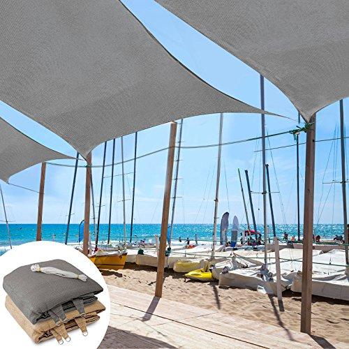 Square Garden Parasol (casa pura Sun Shade Sail | Shade Cloth, Protect Against UV | Sun Shades for Patio and Garden | Square | Multiple Sizes | Gray - 16' x 16')