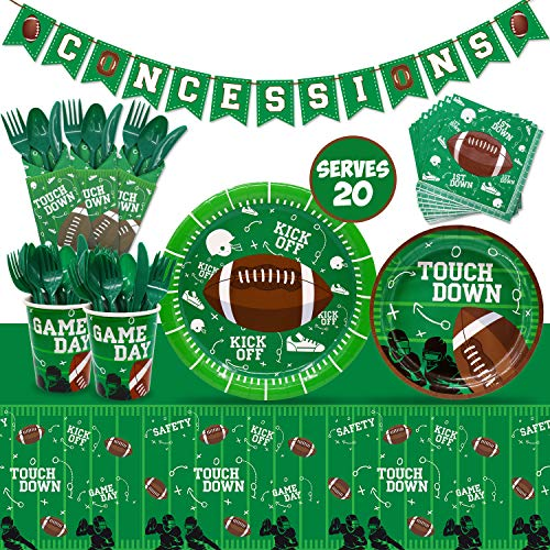 Nfl Party Supplies (Football Touchdown Party Supplies Set Game Day Accessory Football Themed Value Pack Including Concession Stand Banner, Plate, Cups, Napkins, Plastic Table Cloth Tailgate Party Supplies Super Bowl Sunday or NFL)