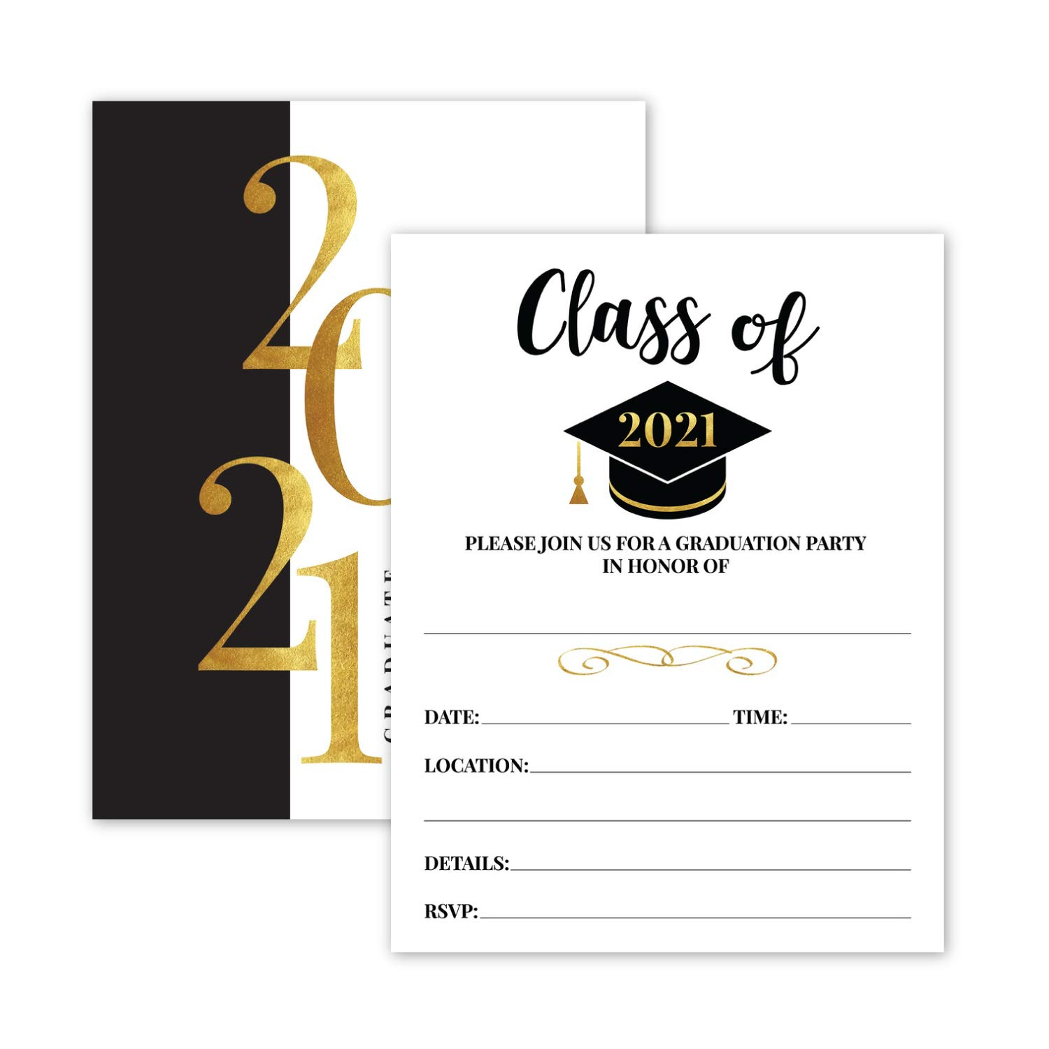 25- 2021 Gold & Black Graduation Party Invitations with Envelopes for 2021 College, High School, University Grad Celebration or Announcement- Invite Cards Fill In Style- Party Decorations Supplies