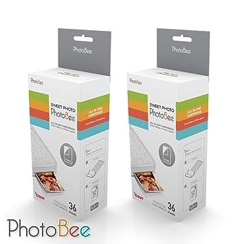 PhotoBee Papel fotográfico - 2 cajas de cartucho todo en uno (3 por caja,