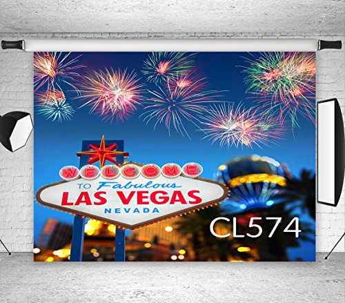 LB Las Vegas Backdrops Photography 7x5ft Vinyl Casino City Night Firework Party Backdrop Las Vegas Theme Birthday Party Photo Booth Studio -