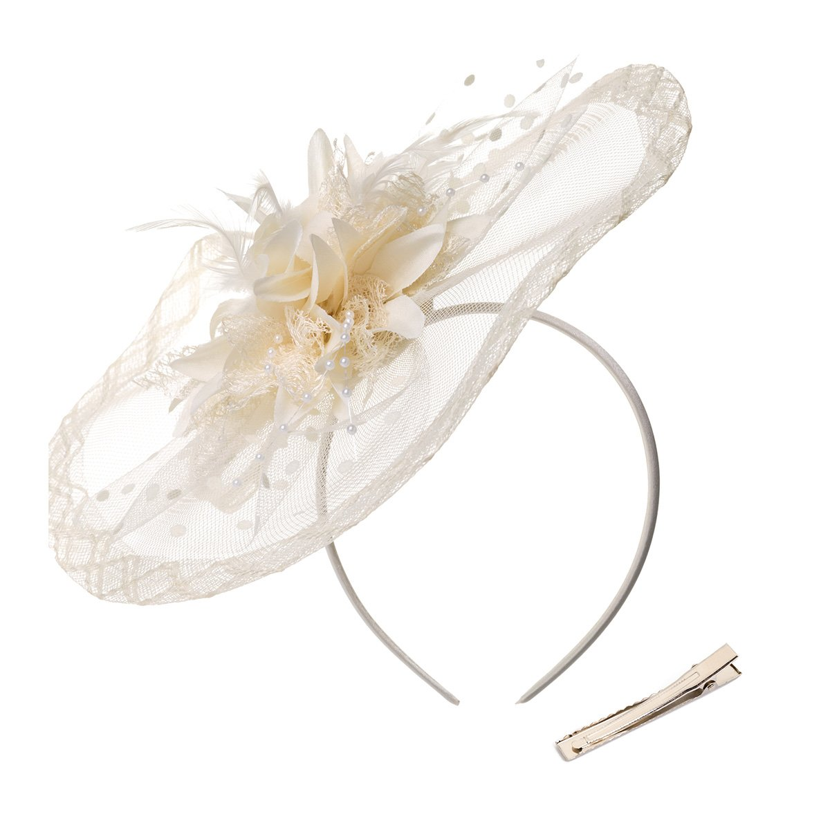 DancMolly Fascinator Clip for Women Feather Derby Hats Cocktail Tea Net Headband Mesh Party Veil (Beige 3)