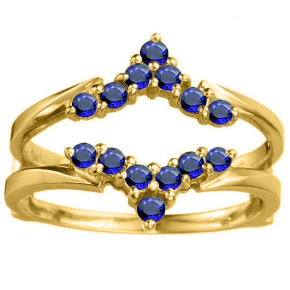 1/3 ct. Sapphire Genuine Sapphire Delicate Style Chevron Style Ring Guard in Yellow Plated Sterling Silver (0.33 ct. twt.)
