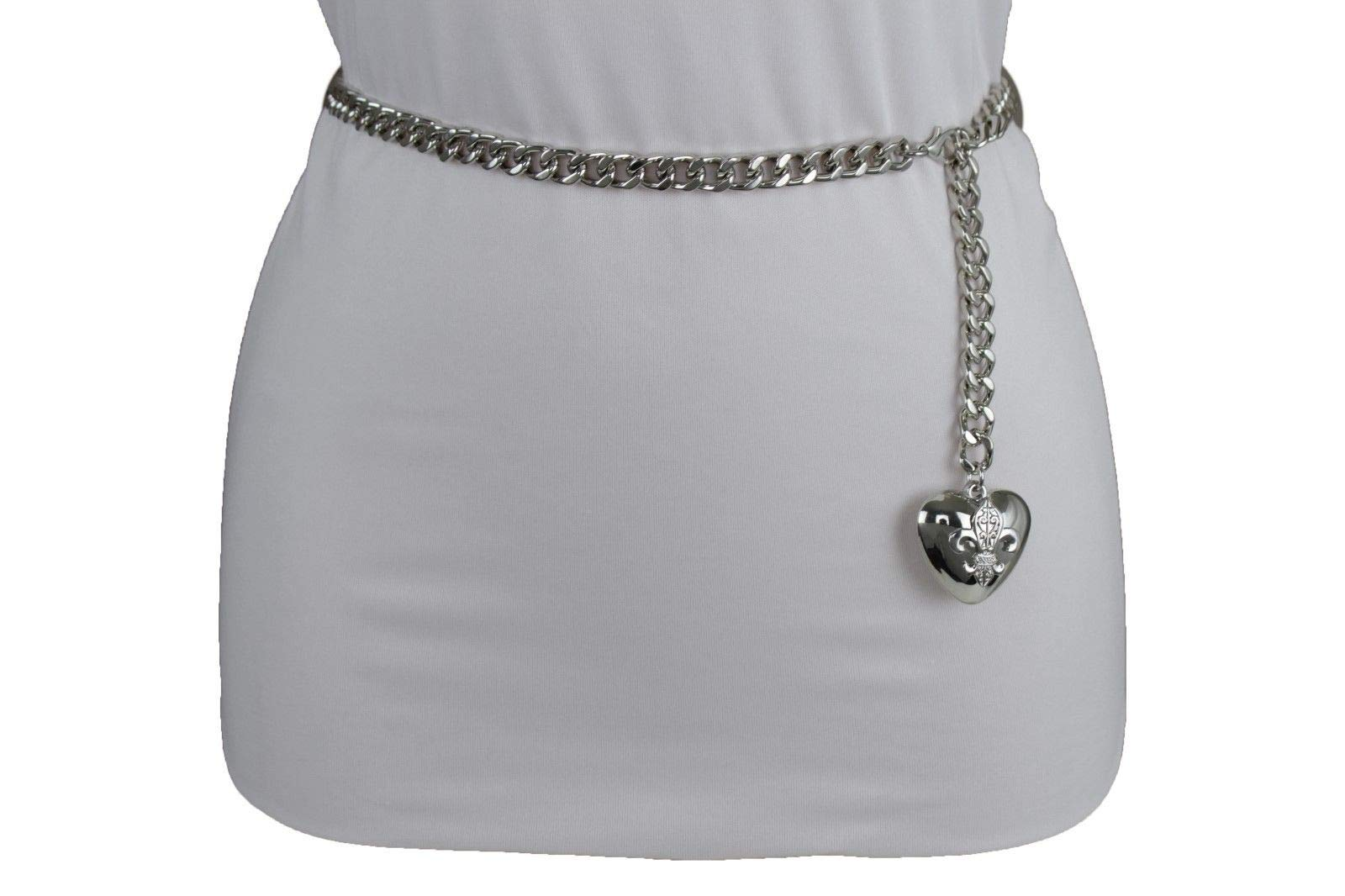Women Hip Waist Silver Metal Chain Fashion Belt Love Heart Buckle Charm XS S M by RIX Fashion Luxury (Image #5)