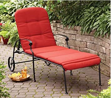 Amazoncom Home and Garden Red Chaise Lounge with Wheels The