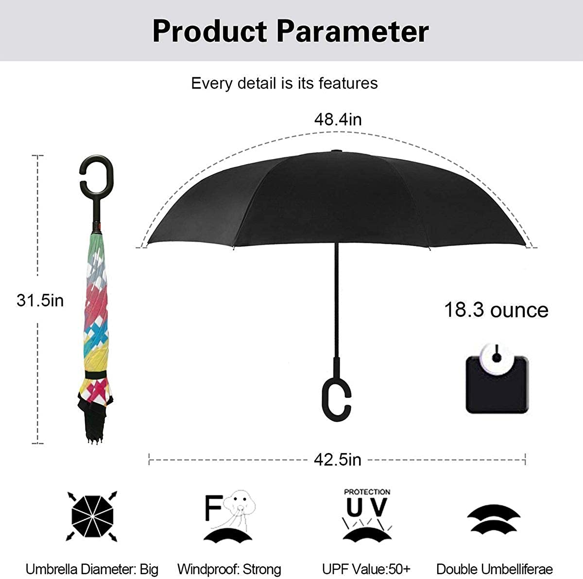 Check Watercolor Seamless Pattern Reverse Umbrella Double Layer Inverted Umbrellas For Car Rain Outdoor With C-Shaped Handle Personalized