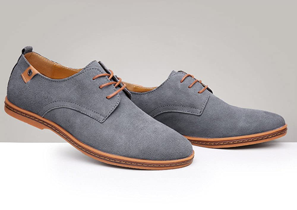 Mens Classic Suede Leather Dress Shoes Business Casual Oxford