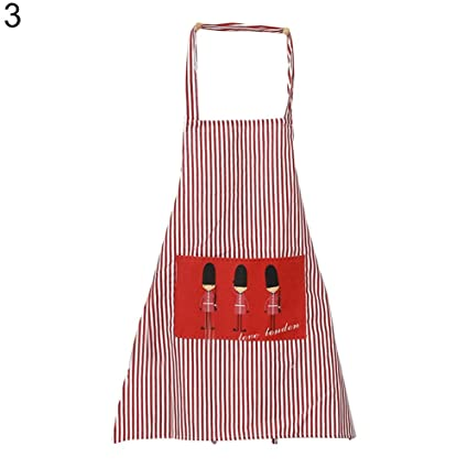 1d8b74a7c9824 Buy wintefei Recyclable Home Kitchen Restaurant Women Vertical Stripes Bib  Cooking Apron with Pocket 3  Online at Low Prices in India - Amazon.in