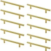 Meubelgreep messing - 10 stuks deurknoppen T-grepen voor keukenkasten (gatafstand 160 mm)