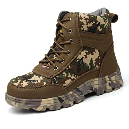 Fohee Moda Camo Zapatos de Seguridad Laboral,Transpirable Caliente Anti-Smash Anti-Espina
