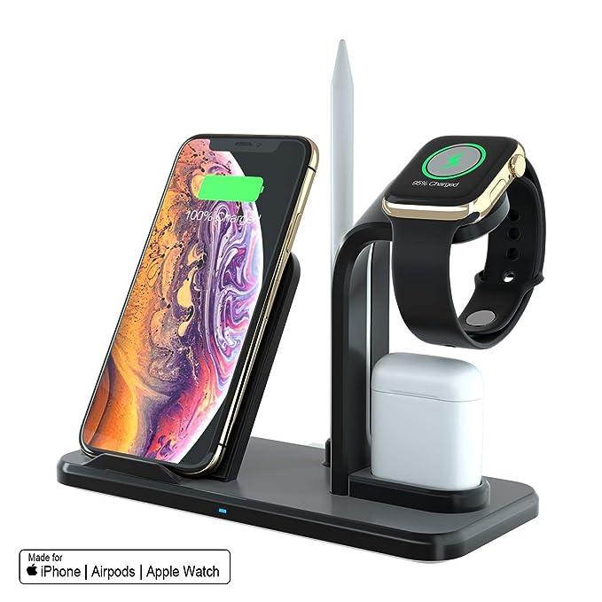SPGUARD Soporte de Carga Para Apple Watch Series 4/3/2/1, Cargador Inalámbrico para iPhone Max XS/Xs/XR/X/8/Plus/Airpods/Samsung Galaxy S10/S9/S8 y ...