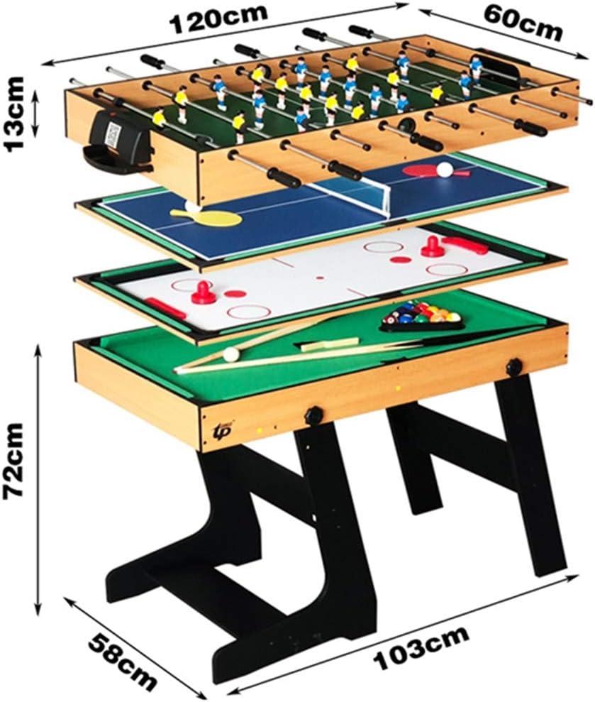 Lcyy-game Deluxe 4 en 1 Mesa de Juego Superior de múltiples Funciones de Tenis de Mesa Combo Constante (Ping Pong), Glide Hockey, futbolín de fútbol, Conjunto de Billar para niños y niños: