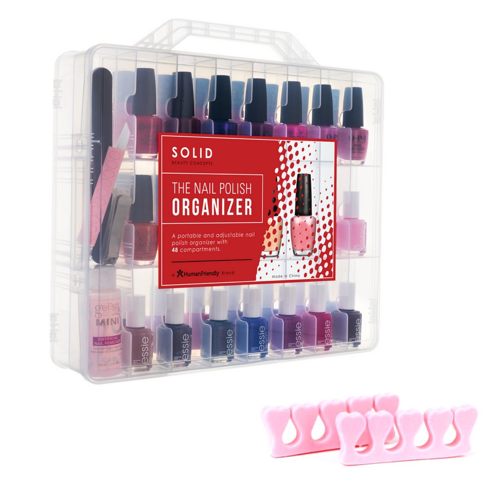 Portable Nail Polish Organizer for 48 Bottles with 2 Foam Toe Separators, 2 Adjustable Compartments & Double Locking Lids - Clear by HumanFriendly