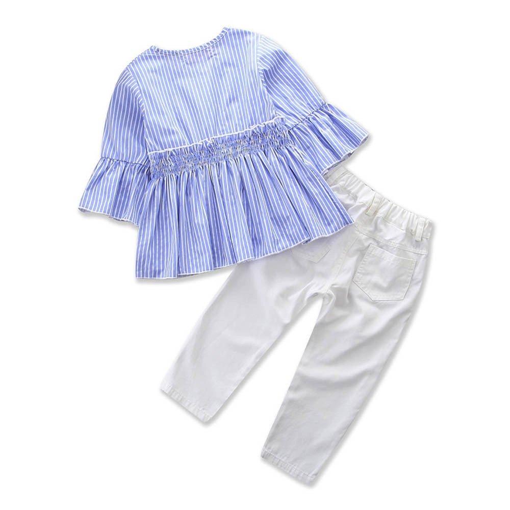 feiXIANG Juego de Ropa Infantil de Moda niño niña bebé niña Mangas Color sólido Impreso Camisa + Jeans Traje de Dos Piezas Lindo Traje de niña: Amazon.es: ...