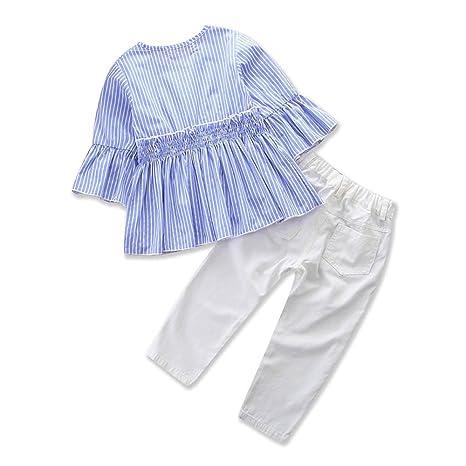 feiXIANG Juego de Ropa Infantil de Moda niño niña bebé niña Mangas Color sólido Impreso Camisa