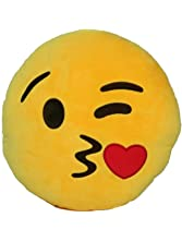 Emoji Comfort Emoji Smiley Round Yellow Emoticon Cushion Stuffed Plush Toy Various Designs (Kissy Heart)