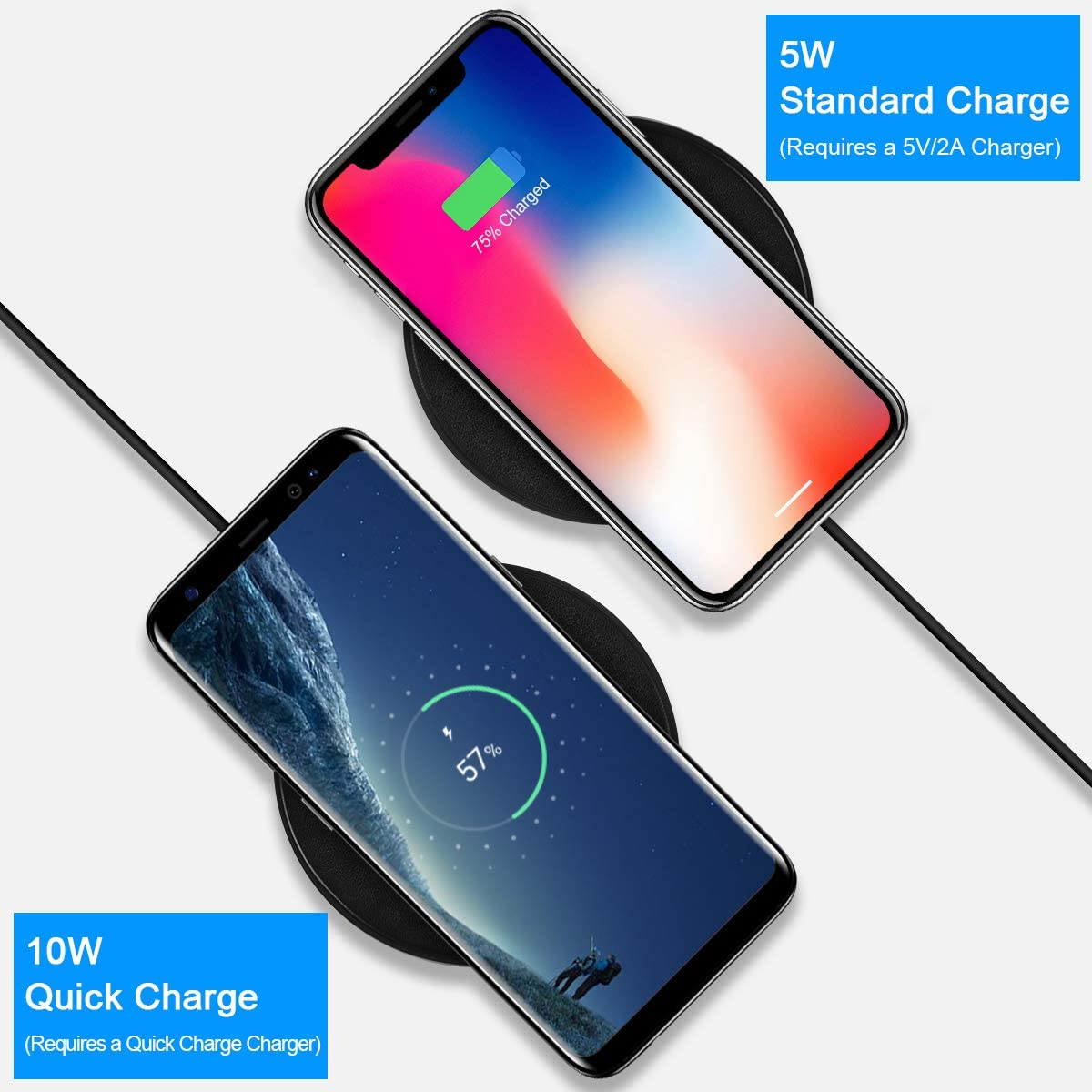 PIHEN PU Leather Wireless Charger 10W Qi-Certified Wireless Charging Pad Compatible iPhone 11//11 Pro//11 Pro Max//X//XR//XS MAX//XS//8//8 Plus Samsung Galaxy S6 S7 S8 S9 S10 Note 7//8//9//10//10 Plus