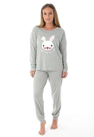 ecd4036f14 Ladies Long Sleeve Pyjama Set Womens Cotton Animal Print PJ S Nightwear ...