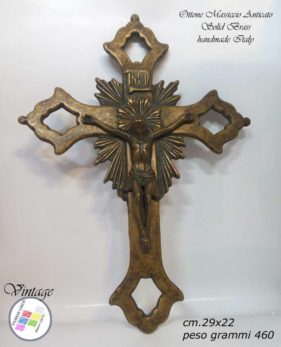 Crucifix mural Art sacr/ée ancienne haut fourneau artistique Made Italy