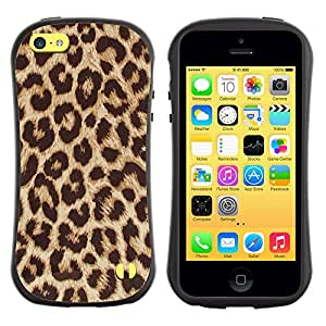 Suave TPU Caso Carcasa de Caucho Funda para Apple Iphone 5C / Africa Cat Brown Fur Pattern / STRONG