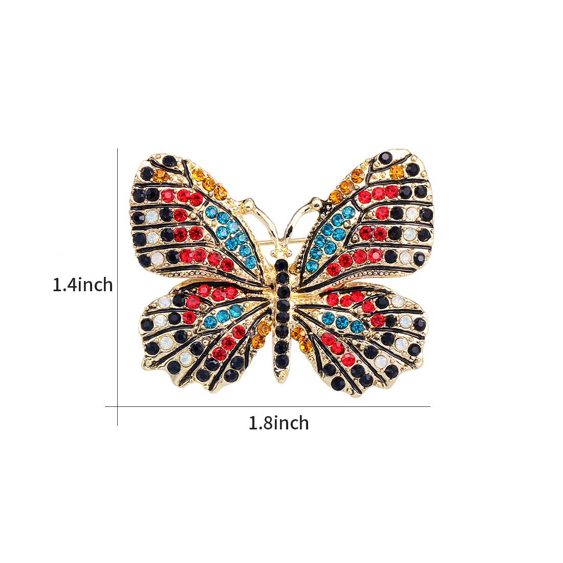 WeimanJewelry Lot6pcs Multicolor Rhinestone Crystal Butterfly Brooch Pin Set for Women by WeimanJewelry (Image #3)