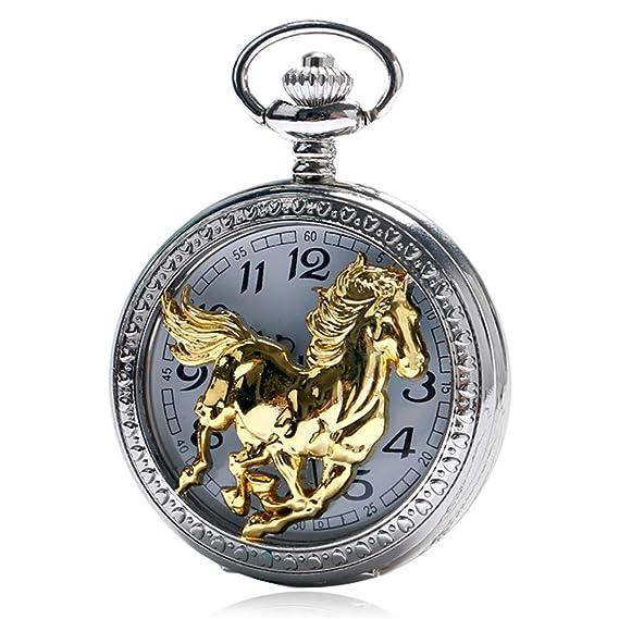 Zodiac - Reloj de Bolsillo con diseño de Caballo Dorado, Movimiento de Cuarzo, Estilo Chino, Regalo: Amazon.es: Relojes