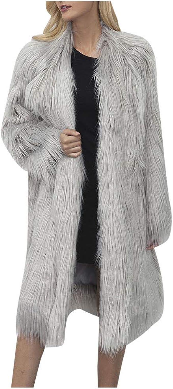 BALABUE Damen Warm Kunstpelz Mantel Jacke Winter V Ausschnitt Solide Lange Oberbekleidung