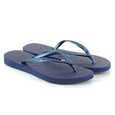 9dc70b7f7a81 Havaianas Navy Slim Crystal Glamour Women s Flip Flop Navy Fabric UK ...