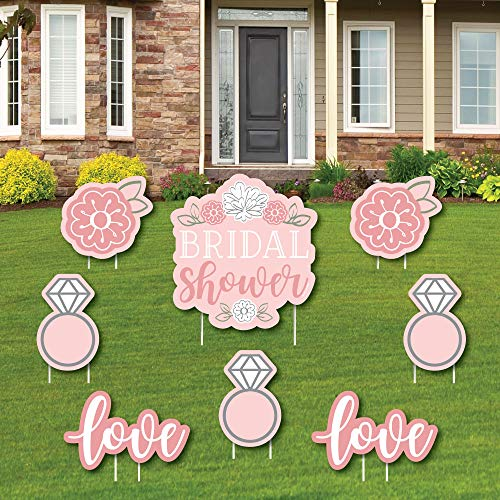Floral Bridal Shower - Yard Sign and Outdoor Lawn Decorations - Pink Bridal Shower Yard Signs - Set of 8]()