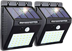 Joyathome Upgraded Solar Sensor Lights Outdoor 30 LED Wireless Waterproof Security Solar Motion Sensor Lights for Patio Deck Yard Garden with Motion Activated Auto On Off 2 Pack